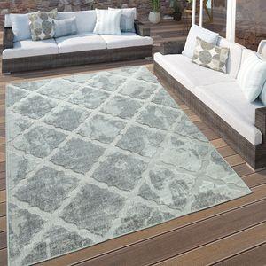 In- & Outdoor Terrassen Teppich Marmor Optik Rauten Muster In Grau, Grösse:160x230 cm
