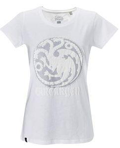 GOZOO Game of Thrones T-Shirt Damen, winds of winter- House Targaryen weiss: L / Weiß