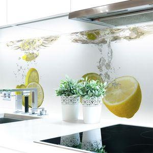 Küchenrückwand Zitronen Wasser Premium Hart-PVC 0,4 mm selbstklebend - Direkt auf die Fliesen, Größe:400 x 60 cm