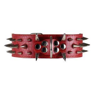 Spikes Nieten Hunde Halsband 5cm breit rot Hundehalsband Leder Größe  L