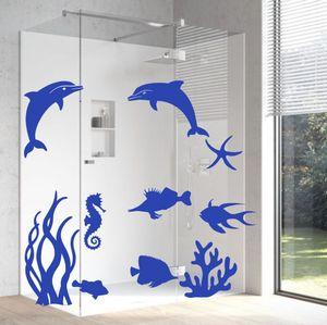 Wandtattoo Aufkleber Delphin Unterwasserwelt 1 Set Badezimmer Dekoaufkleber  für Bad oder Dusche