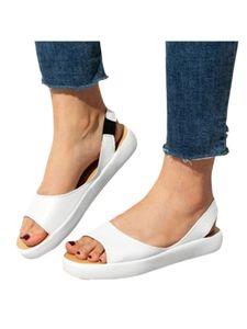 Abtel Damenmode Fischmund Sandalen Sommer Open Toe Single Schuhe Atmungsaktiv,Farbe:Weiß,Größe:42