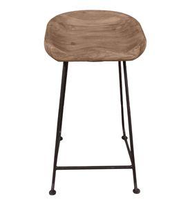 SIT Möbel Barhocker mit Fußstütze   Sitzschale Akazie natur   Gestell Metall schwarz   B 42 x T 38 x H 76 cm   11846-01   Serie NATURAL EDGE