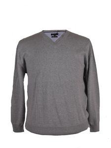 V-Neck Pullover von Refield, grey mel., Größe:5XL