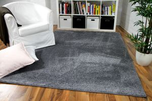 Hochflor Velours Teppich Mona Grau, Größe:200x200 cm