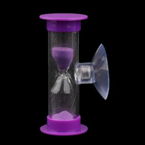 3 Minuten Saugnapf Sanduhr Sandglass Zahnputzuhr Eieruhr Teeuhr Kurzzeitmesser Lila
