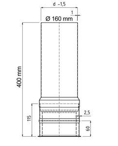Wandfutter doppelwandig mit Verlängerung FAL Ø160/400mm