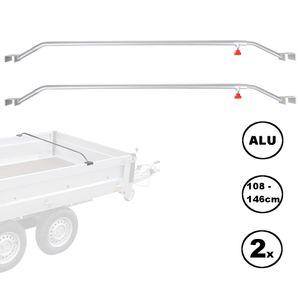 2x Anhänger Flachplanenbügel Aluminium verstellbar 108 - 146 cm Knaufschraube