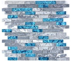 Mosaikfliese Transluzent grau Verbund Glasmosaik Crystal Stein grau blau MOS87-0404