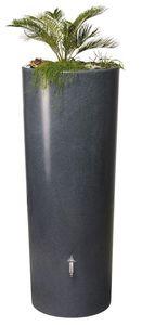 Regentonne Regenspeicher mit Pflanzschale 2in1 STONE 350 Liter Farbe: Lava