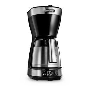 DeLonghi ICM 16731 Thermo-Kaffeemaschine mit Timer schwarz/silber/Edelstahl, Farbe:Schwarz/Silber/Edelstahl