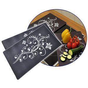2er Set Herdabdeckplatten mit Blütenmuster