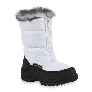 Mytrendshoe Kinder Warm Gefütterte Winter Boots Bequeme Stiefel Schuhe 836081, Farbe: Schwarz Weiß, Größe: 33
