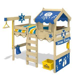 WICKEY Kinderbett Hochbett CrAzY Jelly - blaue Plane Hausbett 90 x 200 cm, Etagenbett