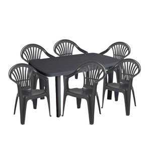 Sitzgarnitur Gartengarnitur 7-teilig Kunststoff Anthrazit
