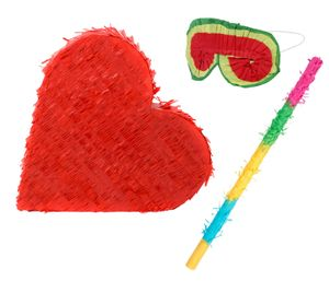 Pinata Herz für besondere Anlässe befüllbar Rot - geeignet für Hochzeit oder Geburtstag, Sets wählen:Herz Set