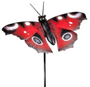 dekojohnson moderne Gartendeko Gartenstecker Dekostecker Schmetterling Pflanzenstecker Beetstecker Metallstecker rot 24cm