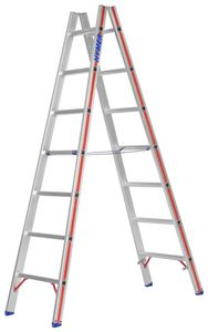 Hymer Sprossenstehleiter, beidseitig begehbar, 2x7 Sprossen, senkr. Höhe 2,00 m, Reichhöhe 3,36 m, Gewicht 7,8 kg