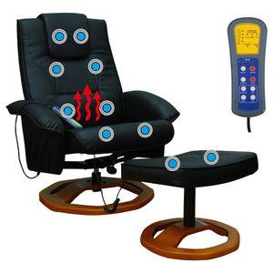 Elektrischer Massagesessel mit Fuhocker Schwarz Kunstleder 5 Massagefunktionen mit wärmefunktion Fernbedienung