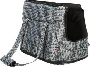 TRIXIE Tasche Riva, Weicher Haustierträger, Handtasche zum Tragen von Haustieren, Hund, 7 kg, Ober- & Vorderseitenbefüllung, Grau