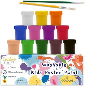 Creative Deco Kinder-Farben Fingerfarbe Bastel-Farbe Plakat-farbe Set   20 ml x 12 Mehrfarbige Becher   12 Grundfarben   Perfekt für Anfänger Studenten Künstler