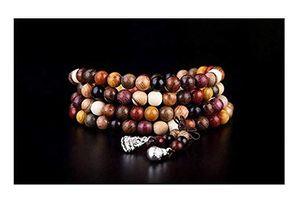 Tibetan Buddhist Meditation Rosenkranz Armband - 108 Perlen 6 mm -Natürliche Holzmischung - Rosenholz, Sandelholz, Akazie, Eiche, Kiefer, Mahagoni, Teak, Rosenholz und Ebenholz