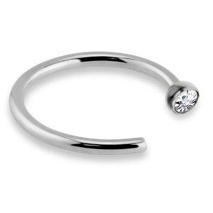 viva-adorno 0,8mm Nasenring Nasenpiercing Piercing Hoop Ring Chirurgenstahl 316L Kristall in verschiedenen Farben Z505,silber