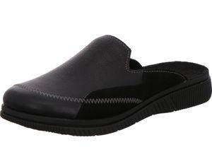Rohde Herren Hausschuhe Pantoffeln Leder Lecco 2712, Größe:43 EU, Farbe:Schwarz