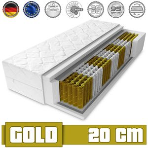 Matratze GOLD 140 x 200 Taschenfederkern 20 cm H3 7 zonen Bett Matratzen