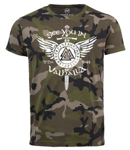 Herren Camo-Shirt See you in Valhalla Schwert Runen Odin Vikings Camouflage Tarnmuster Neverless® camo L
