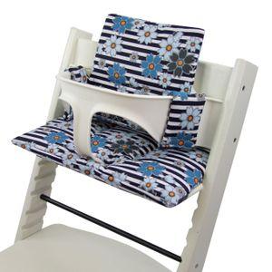 BAMBINIWELT Ersatzbezug, Kissen-Set für Hochstuhl Kinderstuhl Stokke Tripp Trapp, Sitzverkleinerer, DESIGN Streifen blaue Blumen