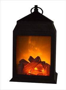 Kunststoff Laterne Kamin mit Flammen Optik Batteriebetrieb Tischkamin mit täuschend echten Flammeneffekten