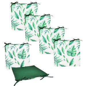 JACK 4x Motiv Outdoor Wende Stuhlkissen 40x40 cm Lounge Kissen Wasserfest Sitzkissen Garten Lotus Effekt, Farbe:Blatt