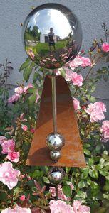 Skulptur Phobos 113 cm Edelstahl & Cortenstahl Beetstecker Gartenstecker