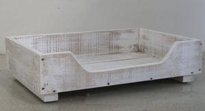 Hundebett aus Holz für große Hunde - 120 x 70 cm - Farbe: Weiß - Hundekorb/Hundesofa/Katzenbett aus Massivholz