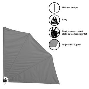 Balkonfächer Wandklappschirm Wandschirm Seitenmarkise Sichtschutz Balkon Sonnen Wind Schutz Grau / 160x160cm / 1,8kg / Stahl / Polyester 180g/m² [casa.pro]