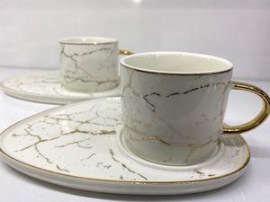 Zellerfeld 12tlg. Kaffeeservice Kaffee Service Tassen Untertassen Marmor Design 200ml Weiß/Gold (TRM-2879-1)