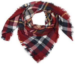 styleBREAKER quadratischer XXL Schal, Deckenschal mit schottischem Tartan Plaid Karo Muster und Fransen, Unisex 01018136, Farbe:Weiß-Schwarz