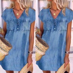 Frauen Casual V-Ausschnitt Temperament Shift Kleid Kurzarm Kleid Lmitation Cowboy Größe:XXXXL,Farbe:Blau