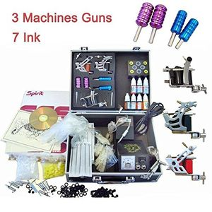 Tätowierung Tätowierset Tattoo Kit Komplett 3 Tattoomaschine, Nadeln, Farbe, Netzgerät kit Gun Machine Grip