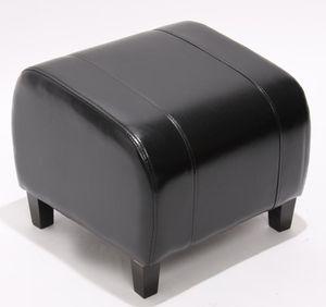 Hocker Sitzwürfel Sitzhocker Emmen, Leder + Kunstleder, 37x45x47 cm  schwarz