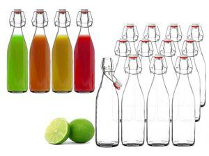 12x Glasflasche 500ml Bügelverschluss Milchflasche Saftflasche Ölflasche Bügelverschlussflasche