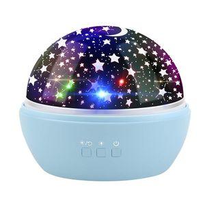 Projektor Licht Powcan Neuheit Mond Sterne Projektor Nachtlicht rotierenden Sternen LED Baby Projektionslampe-Ocean Projektor Film veränderbar - USB batteriebetrieben (Blau)