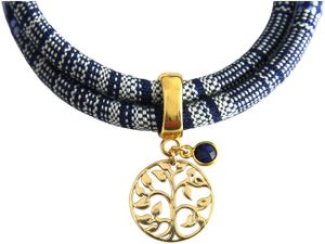 Damen Armband Wickelarmband Vergoldet Lebensbaum AZTEC Saphir Blau