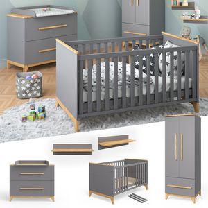 VitaliSpa Babymöbel Set Malia in Naturholz Kinderbett Babybett Umbaubett Kleiderschrank Wickelkommode Wandregal