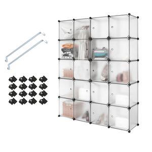 20 Kubus Kunststoff Kleiderschrank Garderobenschrank, Steckregal Kombischrank,Schrank Regalsystem mit 2 Kleiderstange - Weiß