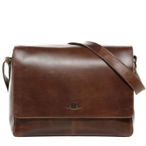 SID & VAIN Messenger Laptoptasche SPENCER Natur-Leder camel-beige Businesstasche Laptoptasche Messenger Bag