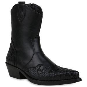 Mytrendshoe Herren Stiefel Cowboy Boots Western Schuhe Cowboystiefel 833742, Farbe: Schwarz, Größe: 42