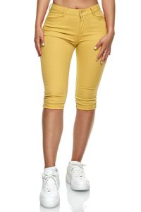 Damen Denim Kurze Capri Jeans leichte Shorts Sommer Design Übergröße , Farben:Gelb, Größe:40