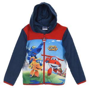 Super Wings Kinder Fleece-Kapuzenjacke mit Jett Jerome Donnie Motiv, blau, Größe:116